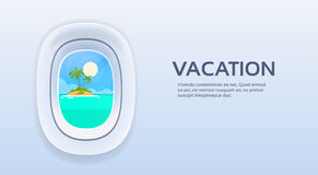 Aircraft Window View Tropical Island Ocean Summer Vacation Plane Tourism Flight Copy Space Royalty Free Stock Image