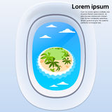 Aircraft Window View Tropical Island Ocean Summer Stock Image