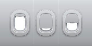 Aircraft windows. Airplane indoor portholes, plane interior window and fuselage glass porthole 3d vector illustration. Aircraft windows. Airplane indoor vector illustration