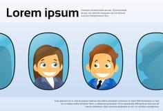 Aircraft Windows Cartoon Business People Man Woman Stock Photos