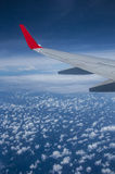 Aircraft wing above the sky Royalty Free Stock Photography