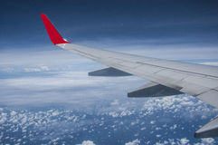 Aircraft wing above the sky Royalty Free Stock Images