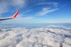 Aircraft wing and Blue sky Royalty Free Stock Photography