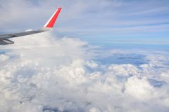 Aircraft wing and Blue sky Stock Photography