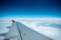 Aircraft wing on the clouds Royalty Free Stock Images