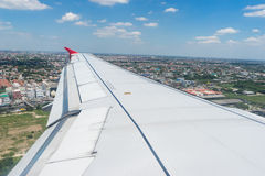 Aircraft wing flying look land and sky 1 Stock Photography
