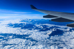 Aircraft wing on the himalayas Royalty Free Stock Images