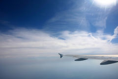 Aircraft wing in the sky Stock Photography