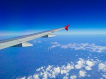 Aircraft wing with skyline Stock Photography