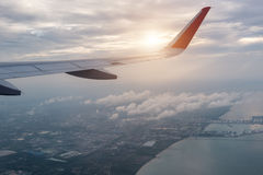 Aircraft wing transportation plane flying Stock Photo
