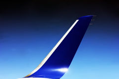 Aircraft winglet during flight. An aircraft winglet during flight at cruising altitude Royalty Free Stock Image
