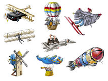 Aircrafts. Various flying machines. Hand drawings Royalty Free Stock Photo