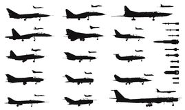 Aircrafts. High detailed soviet military aircrafts and weapon set. Vector silhouettes Royalty Free Stock Images