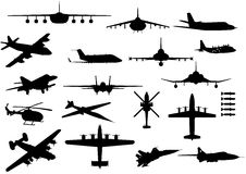 Aircrafts. Vector aircraft silhouettes with sharp details Stock Photo