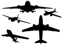 Aircrafts. Airbus silhouettes from different angles. Vector illustration Stock Photos