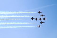 Aircrafts on the blue sky in the air show. As nice background Royalty Free Stock Image