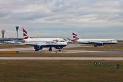 Aircrafts British Airways at Heathrow airport, London Stock Photos