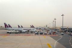 Aircrafts at Doha airport Stock Photography