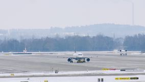 Planes doing taxi in Munich Airport MUC stock footage
