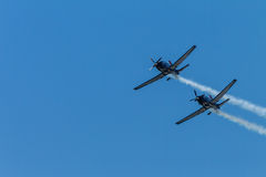 Aircrafts Flying Formation Acrobatics Royalty Free Stock Image