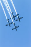 Aircrafts Flying Formation Acrobatics Royalty Free Stock Photography