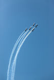 Aircrafts Flying Formation Acrobatics Stock Photos
