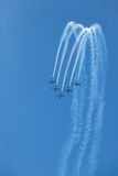 Aircrafts Flying Formation Acrobatics Royalty Free Stock Photos