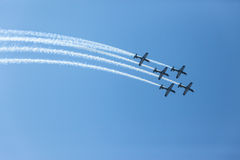 Aircrafts Flying Formation Acrobatics Royalty Free Stock Images