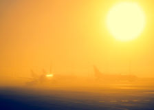 Airport in a foggy weather Stock Images