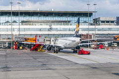 Aircrafts at the gate in the modern Royalty Free Stock Photos