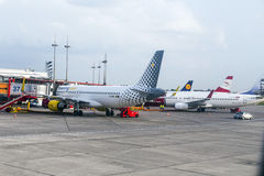 Aircrafts at the gate in the modern Stock Image