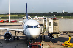 Aircrafts at the gate in the modern Terminal 2 in Hamburg Stock Photo