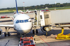 Aircrafts at the gate in the modern Terminal 2 in Hamburg Stock Photography