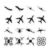 Aircrafts, helicopters, drones black vector icons Royalty Free Stock Photography