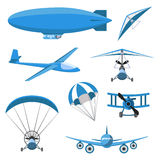 Aircrafts icons set on white background. Parachute, airship, Hang-glider, airplane, Trike, glider, Paraplane. Aircrafts icons set in cartoon colored style on Stock Photos