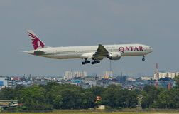 Aircrafts landing at the airport stock photo