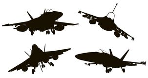 Aircrafts. Military aircraft  silhouettes  collection. Vector EPS 8 Stock Image