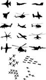 Aircrafts. Military and civilian aircraft of various kinds during maneuvers Royalty Free Stock Image