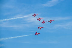 Aircrafts Northrop F-5E Tiger II of the aerobatic team of the Swiss Patrouille Suisse Royalty Free Stock Photo
