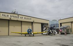Aircrafts in Palm Springs Air Museum Palm Springs. PALM SPRINGS, USA - APRIL 7, 2018: aircrafts in Palm Springs Air Museum Palm Springs, Riverside County stock image