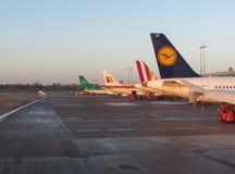 Aircrafts parked at the airport in Hamburg Royalty Free Stock Photos