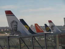 Aircrafts parked in Madrid. MADRID, SPAIN - CIRCA OCTOBER 2017: aircrafts parked at the Adolfo Suarez airport in Madrid-Barajas Stock Image