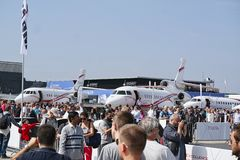 Aircrafts parked at meeting space in Paris Le Bourget during the Aeronautics and spatial international airshow and aviation. LE BOURGET, FRANCE - JUNE 24, 2017 royalty free stock photos