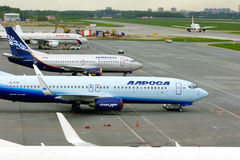 Aircrafts at the parking in Pulkovo International airport in Saint-Petersburg, Russia Stock Photo