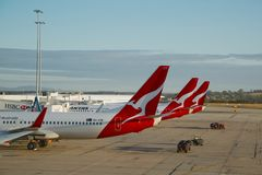 Aircrafts of Qantas. Melbourne - MARCH 15: Aircrafts of the Qantas fleet at Melbourne Airport March 15th, 2014. Qantas is Australia's largest airline Stock Photography