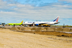 Aircrafts at reconstructed airfield. Stock Image