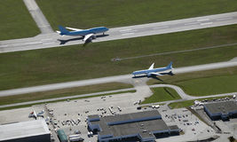 Aircrafts on the runway Royalty Free Stock Photography