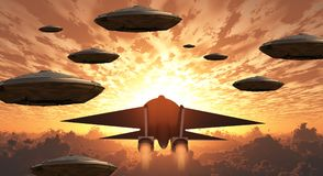 Aircrafts. Sunset. Flying saucers and jet plane together Stock Photography