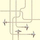 Aircrafts tracking. Flat illustration. vector illustration