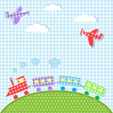Aircrafts and train. Baby background with aircrafts and train. Vector textile stikers Stock Photos